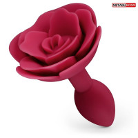 Красная гладкая анальная втулка-роза