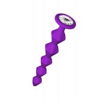 Фиолетовая анальная цепочка с кристаллом Buddy - 17,7 см.
