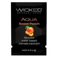 Лубрикант с ароматом спелого персика Wicked Aqua Sweet Peach - 3 мл.