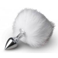 Серебристая анальная пробка с белым хвостиком Bunny Tail Plug