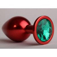 Красная анальная пробка с зеленым стразом - 8,2 см.